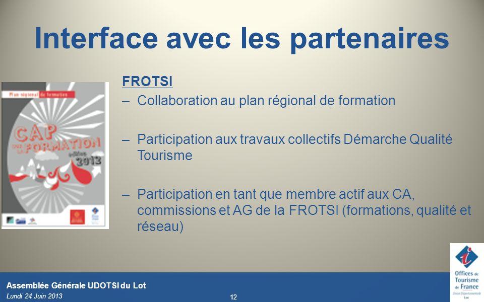 Interface avec les partenaires FROTSI –Collaboration au plan régional de formation –Participation aux travaux collectifs Démarche Qualité Tourisme –Pa