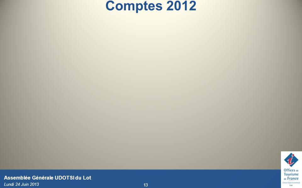 Comptes 2012 Lundi 24 Juin 2013 13 Assemblée Générale UDOTSI du Lot