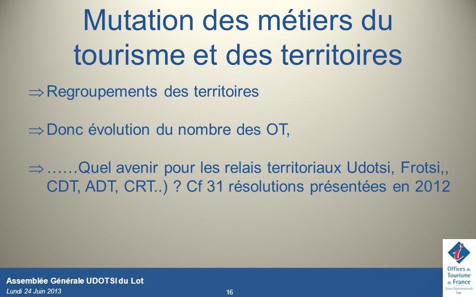 Lundi 24 Juin 2013 16 Assemblée Générale UDOTSI du Lot Mutation des métiers du tourisme et des territoires Regroupements des territoires Donc évolutio