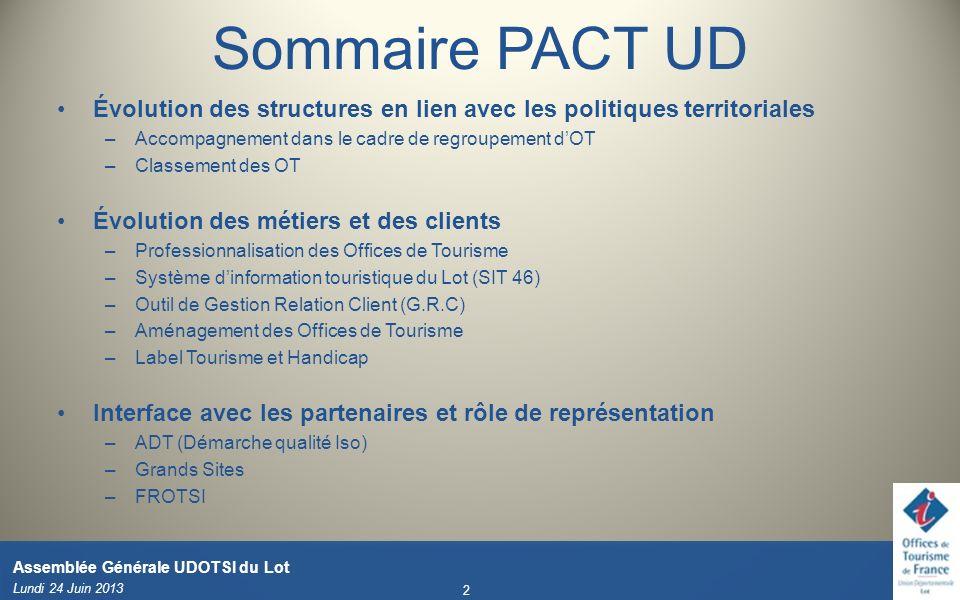 Sommaire PACT UD Évolution des structures en lien avec les politiques territoriales –Accompagnement dans le cadre de regroupement dOT –Classement des