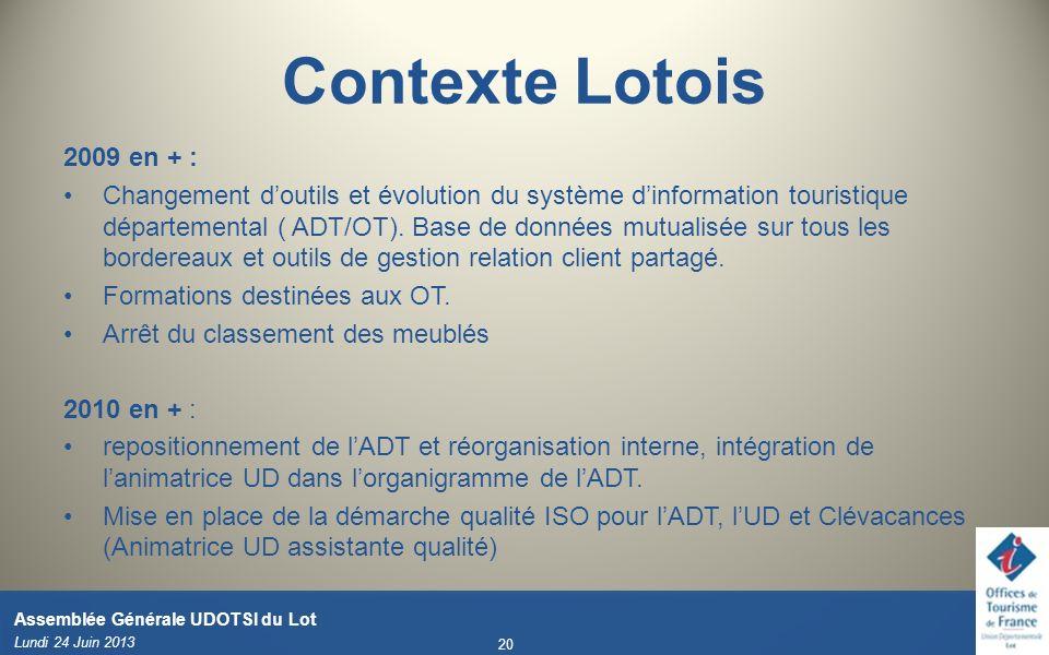 Lundi 24 Juin 2013 20 Assemblée Générale UDOTSI du Lot 2009 en + : Changement doutils et évolution du système dinformation touristique départemental (