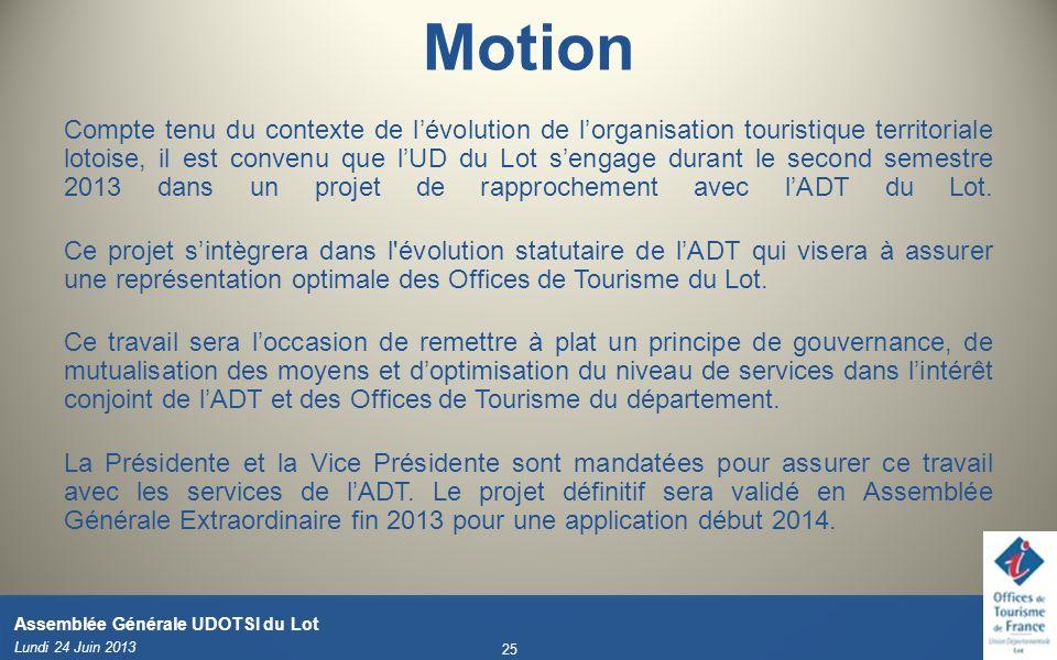 Motion Compte tenu du contexte de lévolution de lorganisation touristique territoriale lotoise, il est convenu que lUD du Lot sengage durant le second