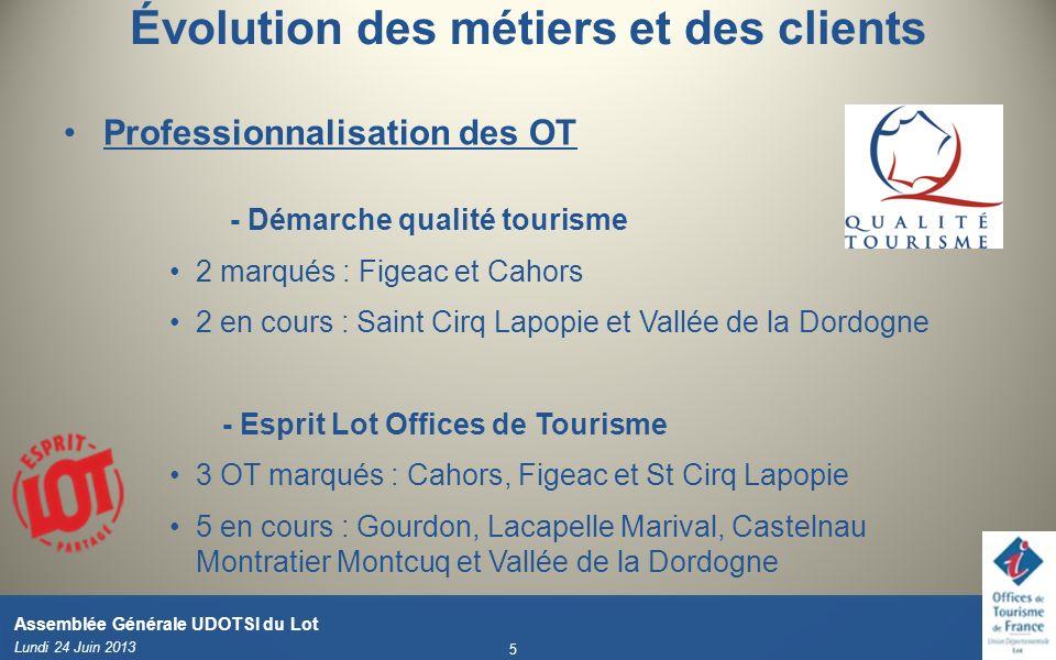 Évolution des métiers et des clients Professionnalisation des OT - Démarche qualité tourisme 2 marqués : Figeac et Cahors 2 en cours : Saint Cirq Lapo