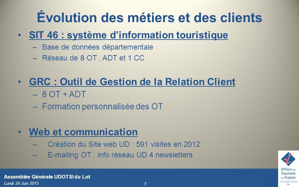Évolution des métiers et des clients SIT 46 : système dinformation touristique –Base de données départementale –Réseau de 8 OT, ADT et 1 CC GRC : Outi