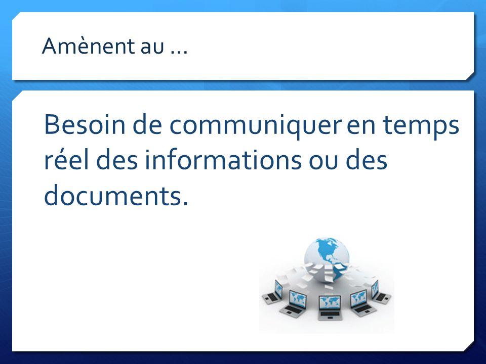 Besoin de communiquer en temps réel des informations ou des documents. Amènent au …