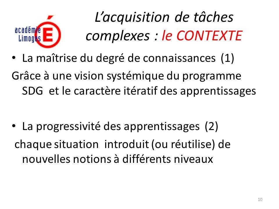 Lacquisition de tâches complexes : le CONTEXTE La maîtrise du degré de connaissances (1) Grâce à une vision systémique du programme SDG et le caractèr