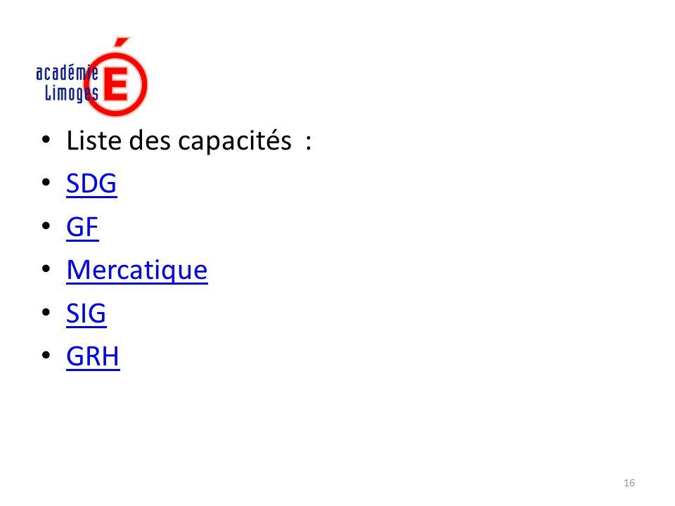 Liste des capacités : SDG GF Mercatique SIG GRH 16