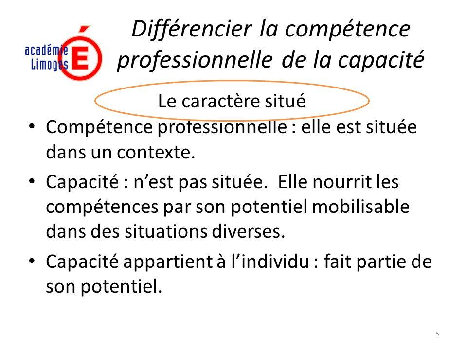 Différencier la compétence professionnelle de la capacité Compétence professionnelle : elle est située dans un contexte. Capacité : nest pas située. E