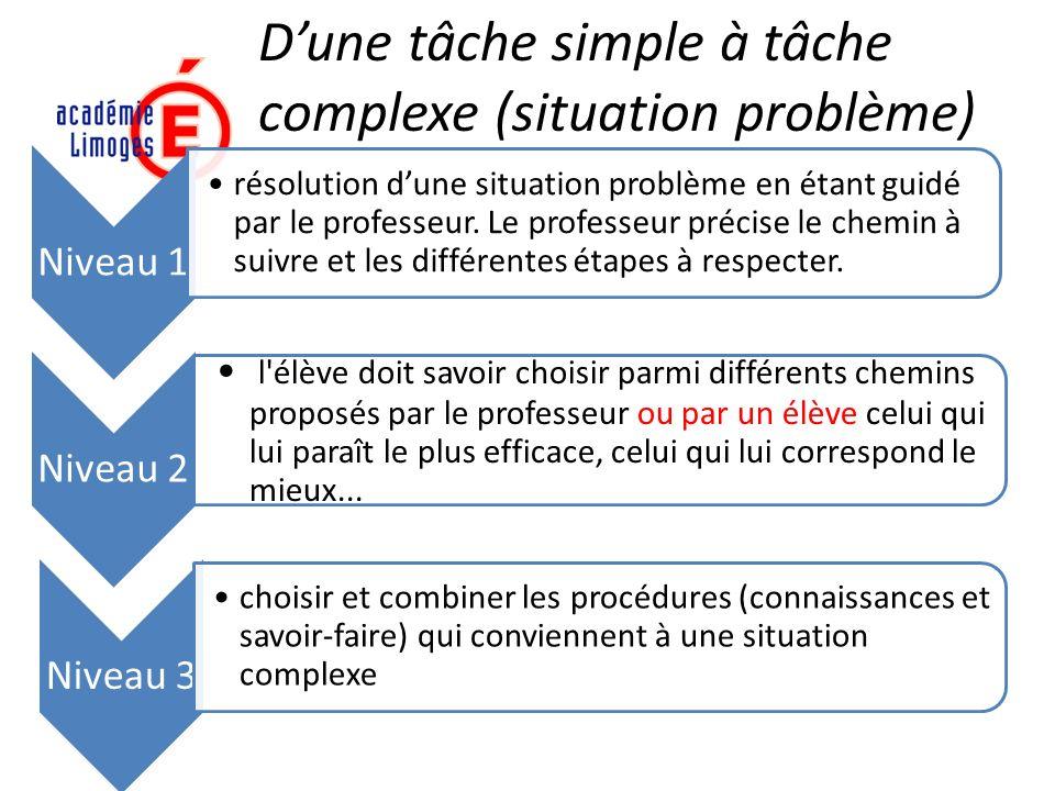 Niveau 1 résolution dune situation problème en étant guidé par le professeur. Le professeur précise le chemin à suivre et les différentes étapes à res