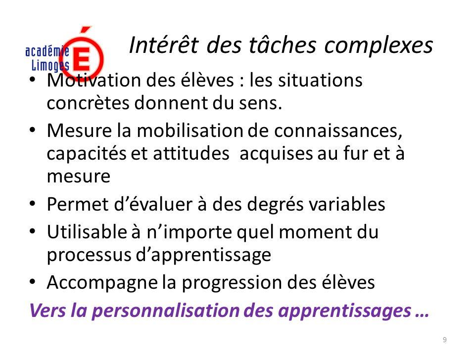 Intérêt des tâches complexes Motivation des élèves : les situations concrètes donnent du sens. Mesure la mobilisation de connaissances, capacités et a