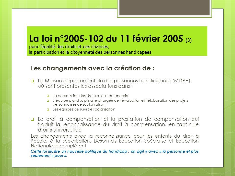 La loi n°2005-102 du 11 février 2005 (3) pour légalité des droits et des chances, la participation et la citoyenneté des personnes handicapées Les cha