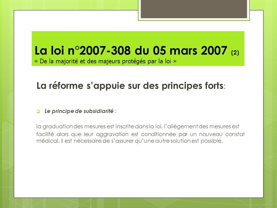 La loi n°2007-308 du 05 mars 2007 (2) « De la majorité et des majeurs protégés par la loi » La réforme sappuie sur des principes forts : Le principe d