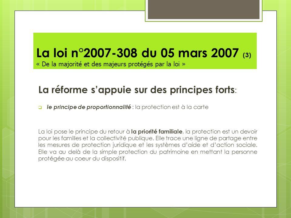 La loi n°2007-308 du 05 mars 2007 (3) « De la majorité et des majeurs protégés par la loi » La réforme sappuie sur des principes forts : le principe d