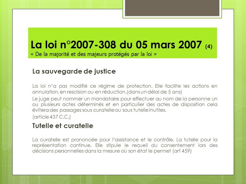 La loi n°2007-308 du 05 mars 2007 (4) « De la majorité et des majeurs protégés par la loi » La sauvegarde de justice La loi na pas modifié ce régime d