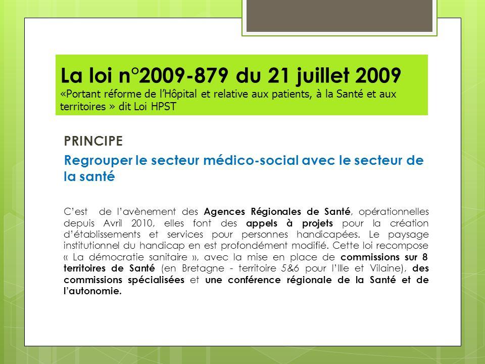 La loi n°2009-879 du 21 juillet 2009 «Portant réforme de lHôpital et relative aux patients, à la Santé et aux territoires » dit Loi HPST PRINCIPE Regr