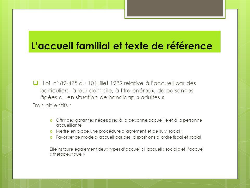 Laccueil familial et texte de référence Loi n° 89-475 du 10 juillet 1989 relative à laccueil par des particuliers, à leur domicile, à titre onéreux, d