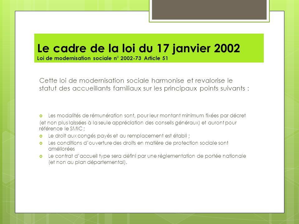 Le cadre de la loi du 17 janvier 2002 Loi de modernisation sociale n° 2002-73 Article 51 Cette loi de modernisation sociale harmonise et revalorise le