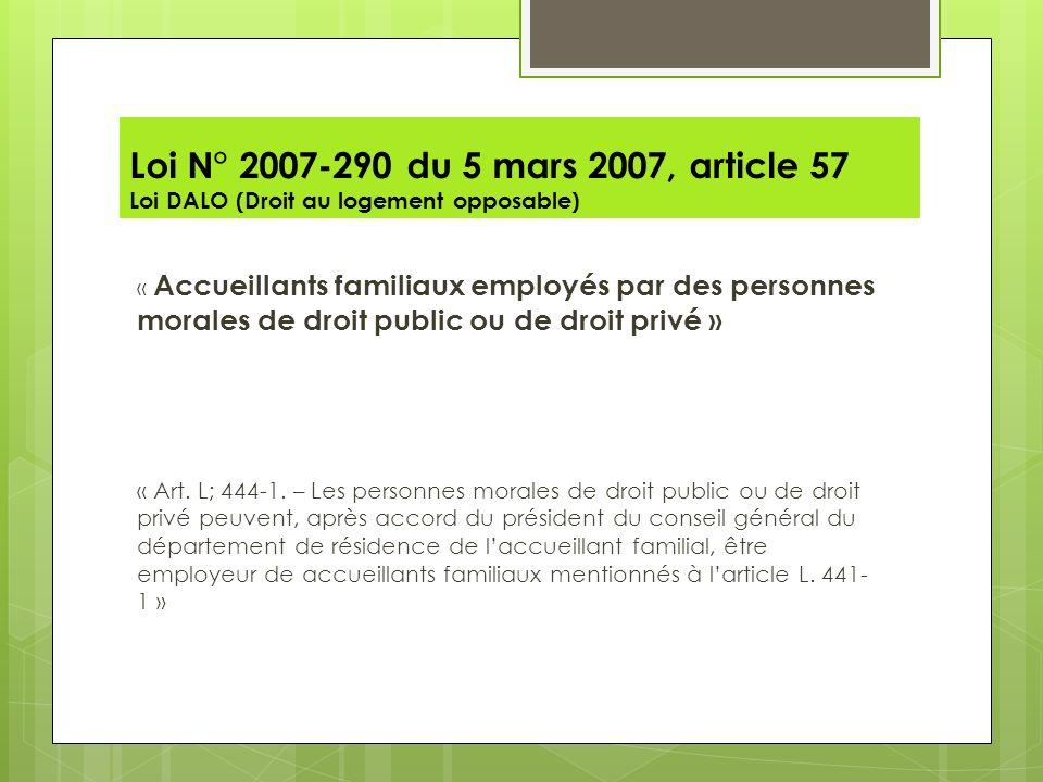 Loi N° 2007-290 du 5 mars 2007, article 57 Loi DALO (Droit au logement opposable) « Accueillants familiaux employés par des personnes morales de droit