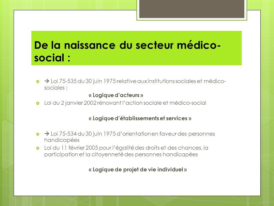 De la naissance du secteur médico- social : Loi 75-535 du 30 juin 1975 relative aux institutions sociales et médico- sociales : « Logique dacteurs » L