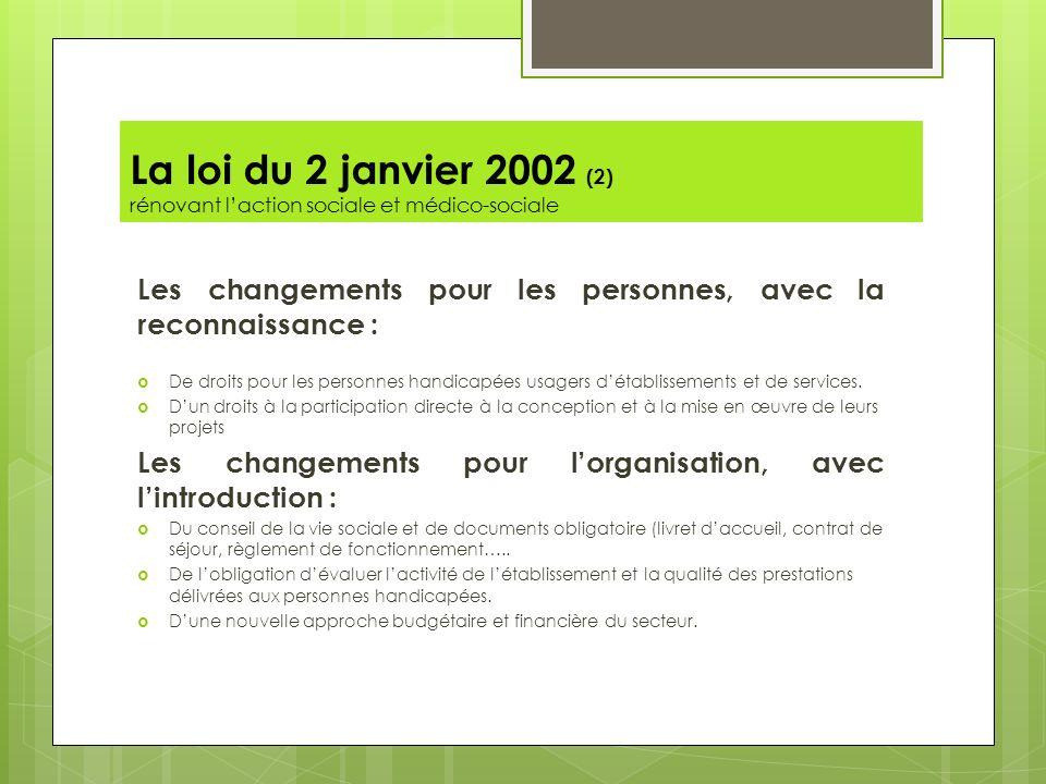 La loi du 2 janvier 2002 (2) rénovant laction sociale et médico-sociale Les changements pour les personnes, avec la reconnaissance : De droits pour le