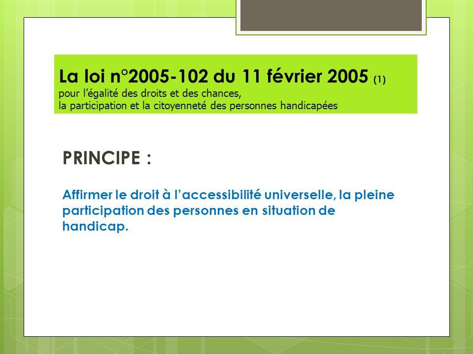 La loi n°2005-102 du 11 février 2005 (1) pour légalité des droits et des chances, la participation et la citoyenneté des personnes handicapées PRINCIP