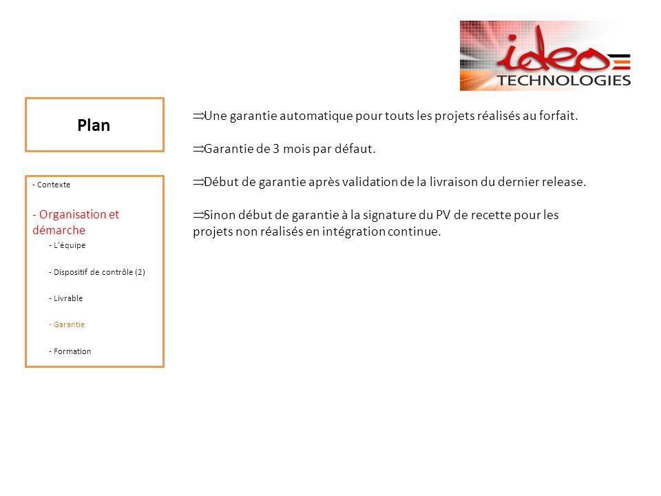 Plan - Contexte - Organisation et démarche - Léquipe - Dispositif de contrôle (2) - Livrable - Garantie - Formation A la demande du client, Ideo Technologies dispense une formation aux équipes du client sur les produits développés.