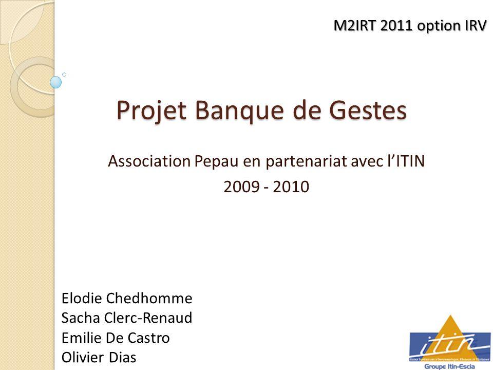 Projet Banque de Gestes Association Pepau en partenariat avec lITIN 2009 - 2010 M2IRT 2011 option IRV Elodie Chedhomme Sacha Clerc-Renaud Emilie De Castro Olivier Dias