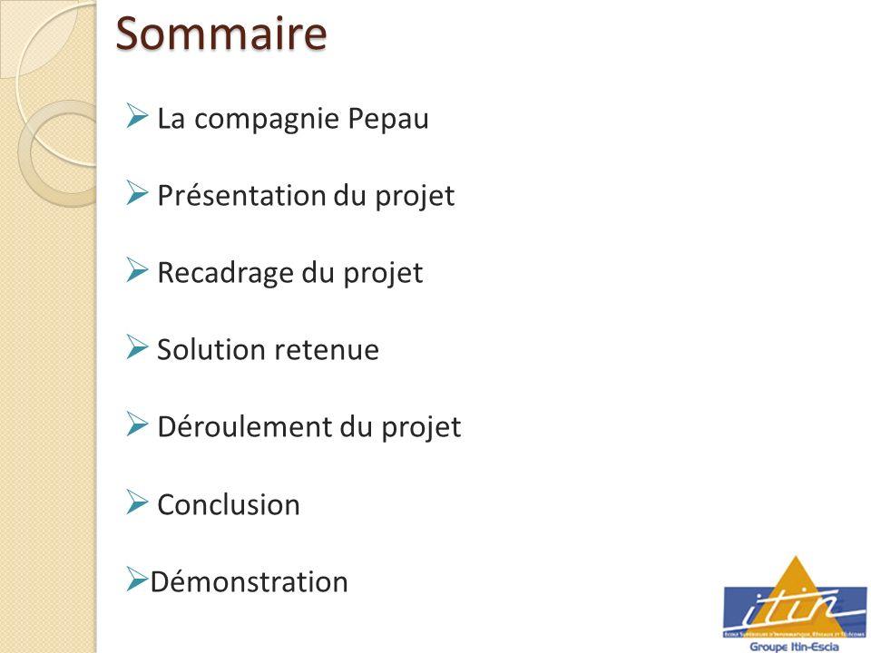 Sommaire La compagnie Pepau Présentation du projet Recadrage du projet Solution retenue Déroulement du projet Conclusion Démonstration