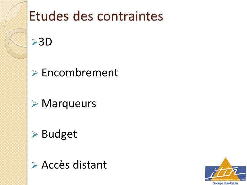 Etudes des contraintes 3D Encombrement Marqueurs Budget Accès distant