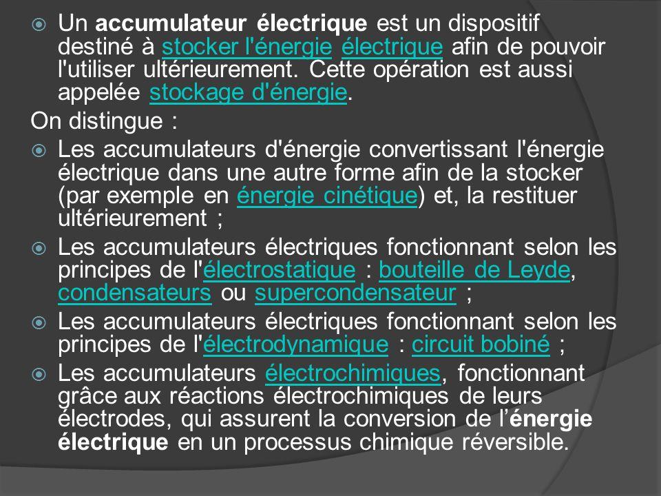 Un accumulateur électrique est un dispositif destiné à stocker l'énergie électrique afin de pouvoir l'utiliser ultérieurement. Cette opération est aus