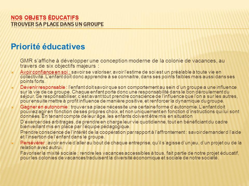 Priorité éducatives GMR saffiche à développer une conception moderne de la colonie de vacances, au travers de six objectifs majeurs : Avoir confiance