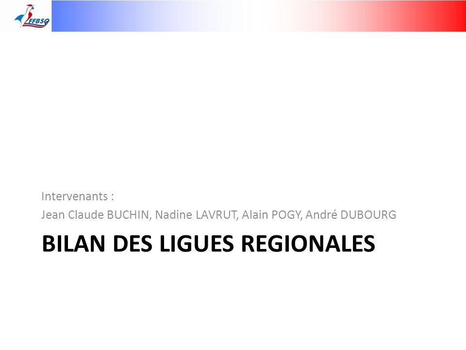 BILAN DES LIGUES REGIONALES Intervenants : Jean Claude BUCHIN, Nadine LAVRUT, Alain POGY, André DUBOURG