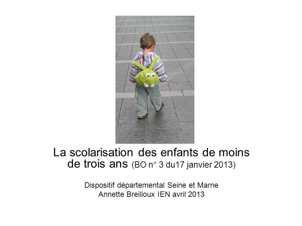 La scolarisation des enfants de moins de trois ans (BO n° 3 du17 janvier 2013) Dispositif départemental Seine et Marne Annette Breilloux IEN avril 2013