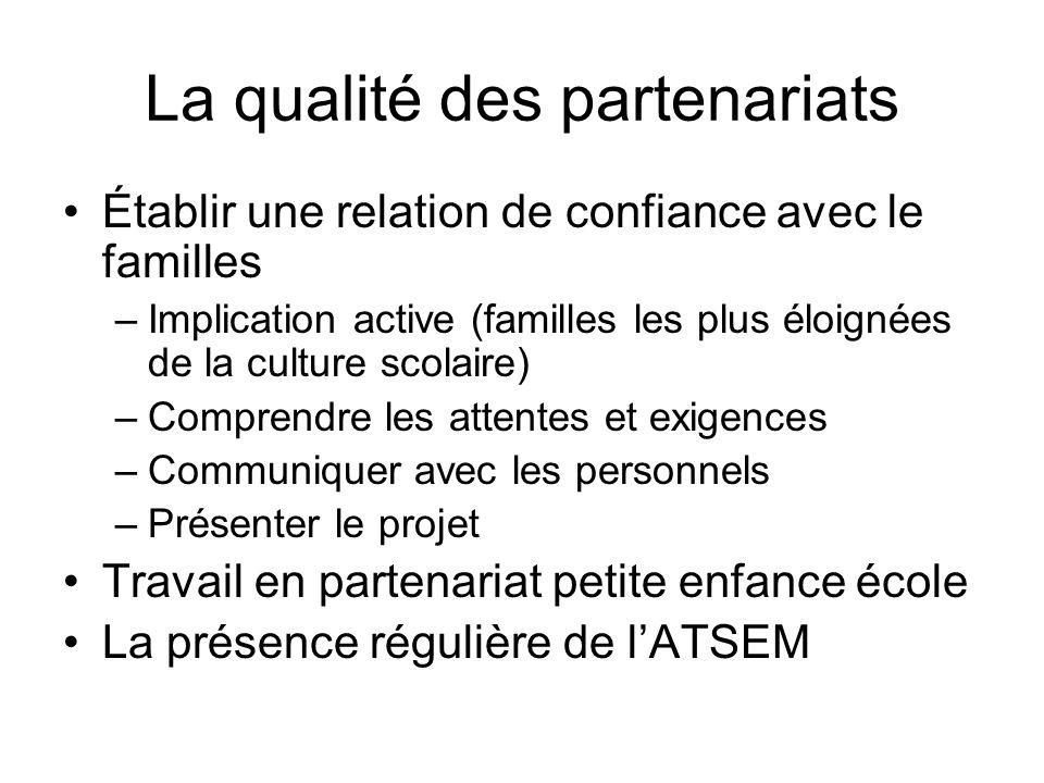 La qualité des partenariats Établir une relation de confiance avec le familles –Implication active (familles les plus éloignées de la culture scolaire