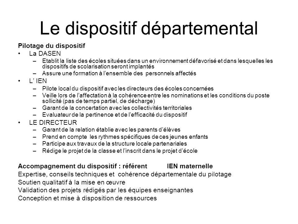 Le dispositif départemental Pilotage du dispositif La DASEN –Etablit la liste des écoles situées dans un environnement défavorisé et dans lesquelles l