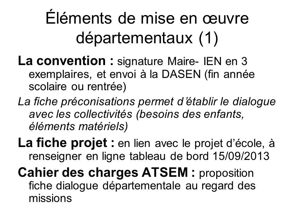 Éléments de mise en œuvre départementaux (1) La convention : signature Maire- IEN en 3 exemplaires, et envoi à la DASEN (fin année scolaire ou rentrée