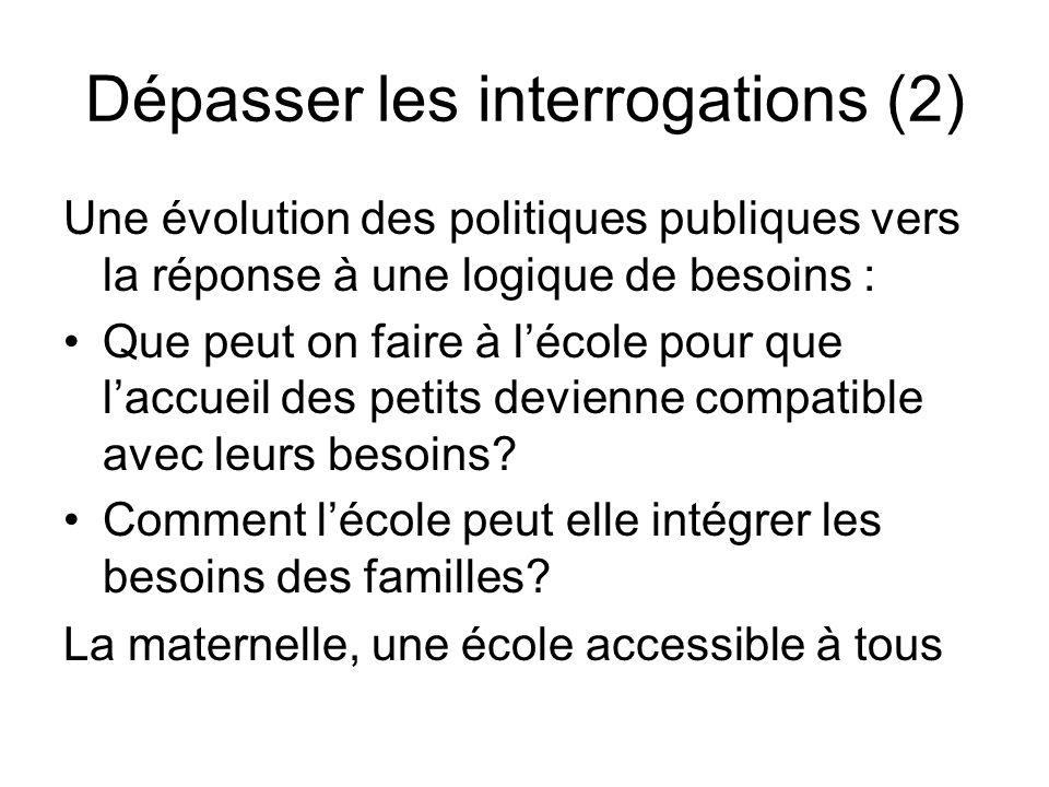 Dépasser les interrogations (2) Une évolution des politiques publiques vers la réponse à une logique de besoins : Que peut on faire à lécole pour que laccueil des petits devienne compatible avec leurs besoins.
