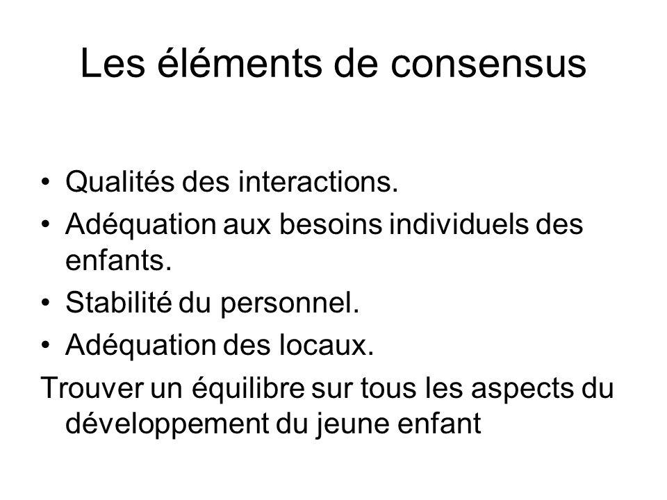 Les éléments de consensus Qualités des interactions. Adéquation aux besoins individuels des enfants. Stabilité du personnel. Adéquation des locaux. Tr