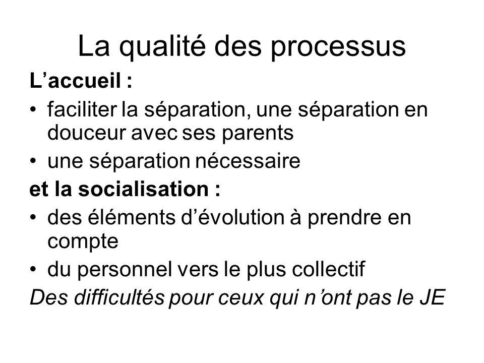 La qualité des processus Laccueil : faciliter la séparation, une séparation en douceur avec ses parents une séparation nécessaire et la socialisation