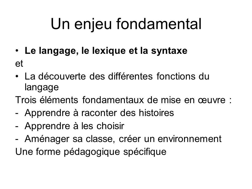 Un enjeu fondamental Le langage, le lexique et la syntaxe et La découverte des différentes fonctions du langage Trois éléments fondamentaux de mise en œuvre : -Apprendre à raconter des histoires -Apprendre à les choisir -Aménager sa classe, créer un environnement Une forme pédagogique spécifique