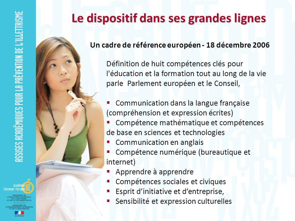 Le dispositif dans ses grandes lignes Définition de huit compétences clés pour l'éducation et la formation tout au long de la vie parle Parlement euro