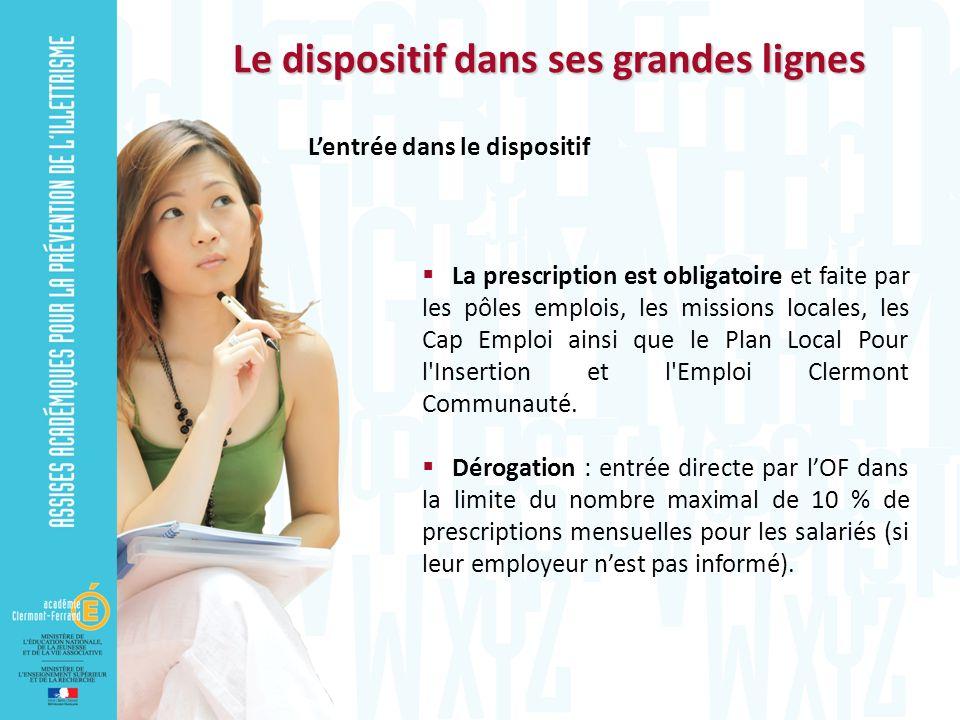 Le dispositif dans ses grandes lignes Lentrée dans le dispositif La prescription est obligatoire et faite par les pôles emplois, les missions locales,