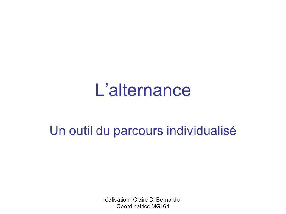 réalisation : Claire Di Bernardo - Coordinatrice MGI 64 Lalternance Un outil du parcours individualisé