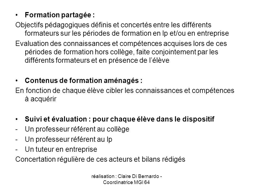 réalisation : Claire Di Bernardo - Coordinatrice MGI 64 Formation partagée : Objectifs pédagogiques définis et concertés entre les différents formateu