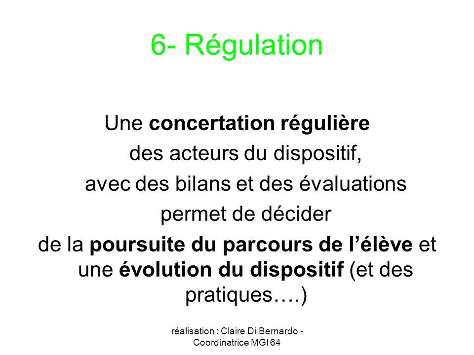 réalisation : Claire Di Bernardo - Coordinatrice MGI 64 6- Régulation Une concertation régulière des acteurs du dispositif, avec des bilans et des éva