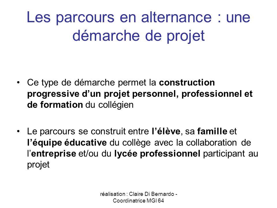 réalisation : Claire Di Bernardo - Coordinatrice MGI 64 Les parcours en alternance : une démarche de projet Ce type de démarche permet la construction