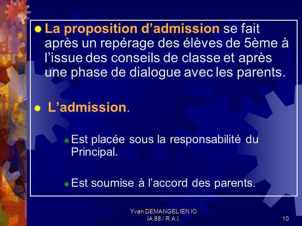 Yvan DEMANGEL IEN IO IA 88 / R.A.I.10 La proposition dadmission se fait après un repérage des élèves de 5ème à lissue des conseils de classe et après