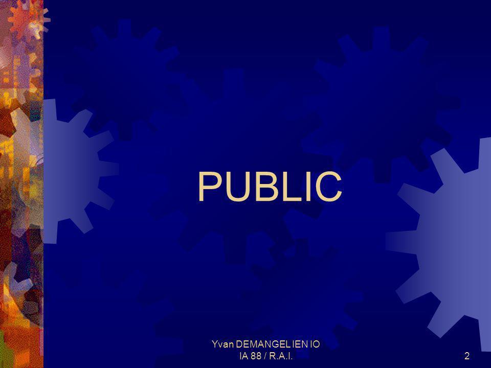 Yvan DEMANGEL IEN IO IA 88 / R.A.I.3 Des élèves dâge normal en priorité ayant : Des difficultés importantes dans les apprentissages fondamentaux : expression orale, expression écrite, mathématiques, logique… Un besoin de remotivation Un besoin de prise en charge pédagogique adaptée et individualisée pour progresser dans leurs apprentissages