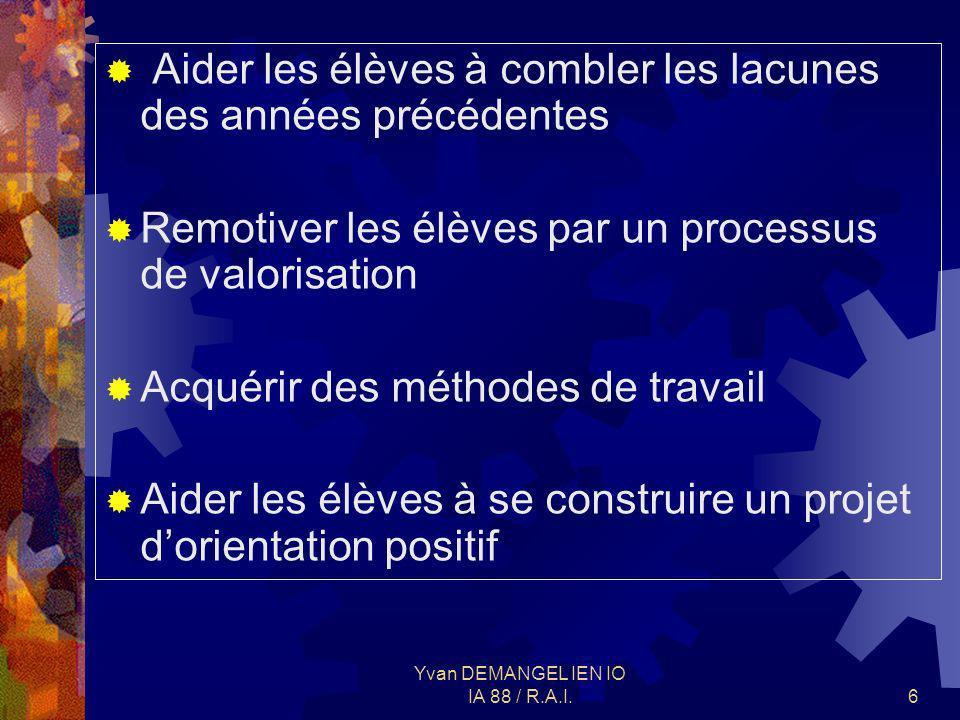 Yvan DEMANGEL IEN IO IA 88 / R.A.I.7 PRINCIPES