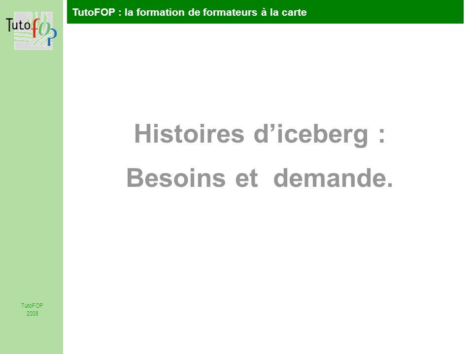 TutoFOP : la formation de formateurs à la carte TutoFOP 2008 Histoires diceberg : Besoins et demande.
